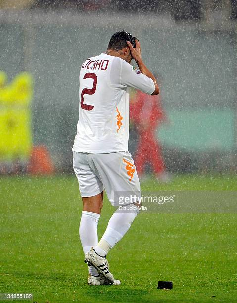 Cicinho of AS Roma dejected during the Serie A match between ACF Fiorentina and AS Roma at Stadio Artemio Franchi on December 4, 2011 in Florence,...