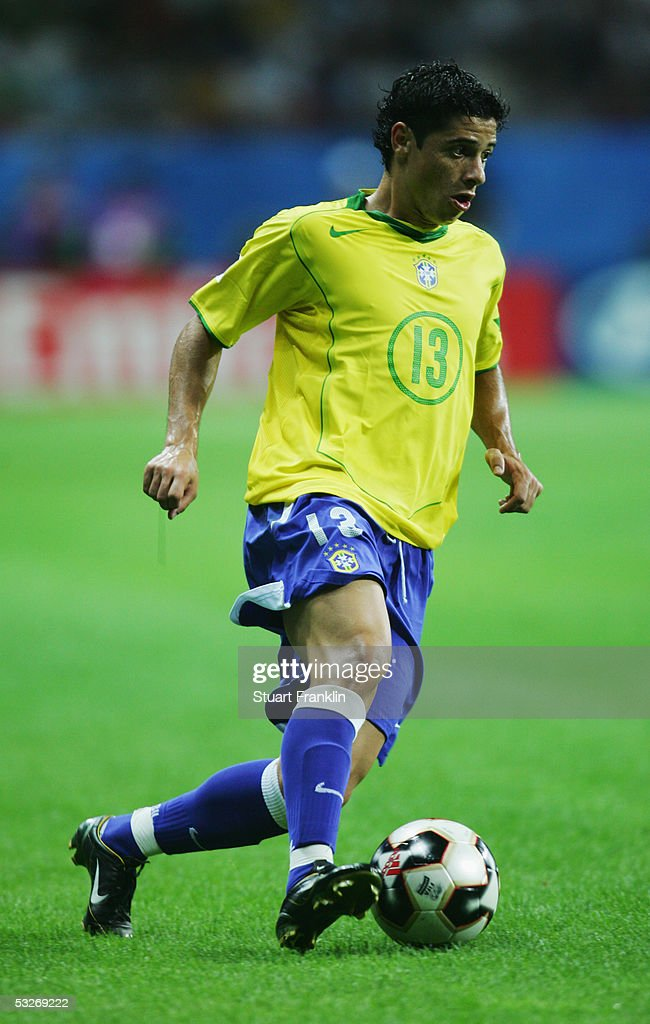 Cicinho of Brazil in action during the FIFA 2005 Confederations Cup Final between Brazil and Argentina at the Waldstadion on June 29, 2005, in Frankfurt, Germany.