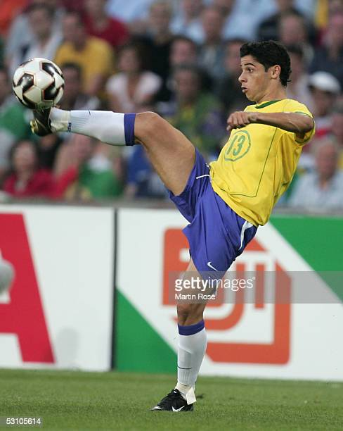Cicinho of Brazil seen in action during the match between Mexico and Brazil in the FIFA Confederations Cup 2005 in the AWD Arena on June 19, 2005 in...