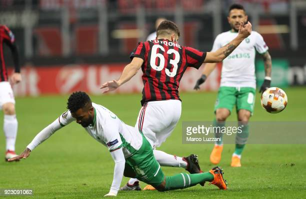 Cicinho of Ludogorets Razgrad competes for the ball with Patrick Cutrone of AC Milan during UEFA Europa League Round of 32 match between AC Milan and...