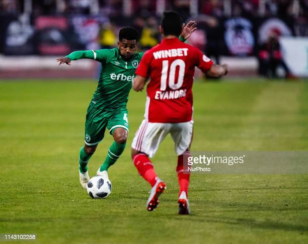 Cicinho of Ludogorets Razgrad going past Evandro of CSKA Sofia during the A PFG match between CSKA Sofia and Ludogorets Razgrad at the Balgarska...