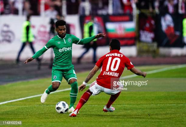 Cicinho of Ludogorets Razgrad passing the ball by Evandro of CSKA Sofia during the A PFG match between CSKA Sofia and Ludogorets Razgrad at the...