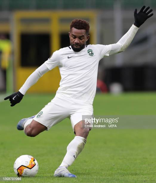 Cicinho of PFC Ludogorets kicks the ball during the UEFA Europa League round of 32 second leg match between FC Internazionale and PFC Ludogorets...