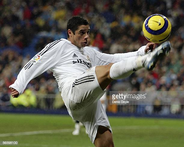 Cicinho of Real Madrid controls a high ball during a Primera Liga match between Real Madrid and Sevilla at the Santiago Bernabeu stadium on January...