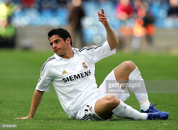 Cicinho of Real Madrid reacts during the Primera Liga match between Getafe and Real Madrid at the Coliseum stadium on April 16, 2006 in Madrid, Spain
