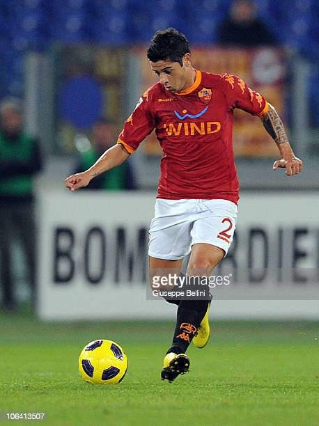 Cicinho of Roma with the ball during the Serie A match between Roma and Lecce at Stadio Olimpico on October 30, 2010 in Rome, Italy.