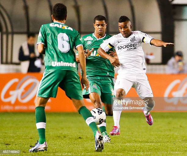 Cicinho of Santos in action during the match between Santos and Chapecoense for the Brazilian Series A 2014 at Vila Belmiro stadium on July 26, 2014...
