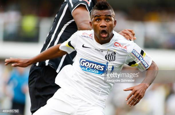 Cicinho of Santos in action during the match between Santos and Corinthians for the Brazilian Series A 2014 at Vila Belmiro stadium on August 10,...