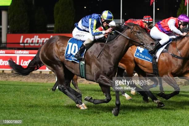 Cielo D'oro ridden by Jamie Mott wins the Preece Wines Handicap at Moonee Valley Racecourse on December 11, 2020 in Moonee Ponds, Australia.