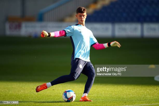Cieran Slicker of Manchester City during the EFL Trophy match between Mansfield Town and Manchester City U21 at One Call Stadium on September 8, 2020...