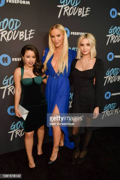 Cierra Ramirez Gigi Gorgeous and Maia Mitchell attend the premiere of Freeform's Good Trouble at Palace Theatre on January 08 2019 in Los Angeles...