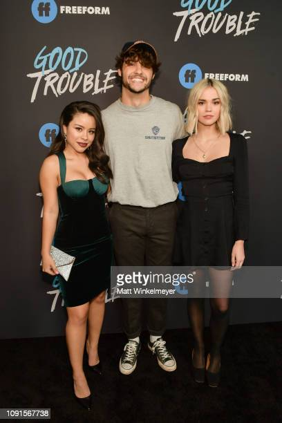 Cierra Ramirez Noah Centineo and Maia Mitchell attend the premiere of Freeform's Good Trouble at Palace Theatre on January 08 2019 in Los Angeles...