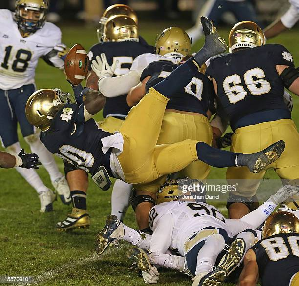 Cierre Wood of the Notre Dame Fighting Irish fumbles the ball at the goal line in overtime against the Pittsburgh Panthers at Notre Dame Stadium on...