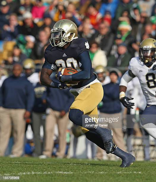 Cierre Wood of the Notre Dame Fighting Irish runs against the Pittsburgh Panthers at Notre Dame Stadium on November 3 2012 in South Bend Indiana...