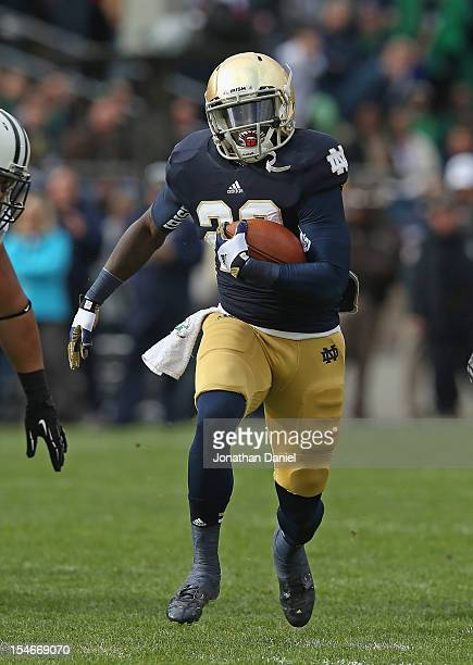 Cierre Wood of the Notre Dame Fighting Irish runs against the BYU Cougars at Notre Dame Stadium on October 20 2012 in South Bend Indiana Notre Dame...