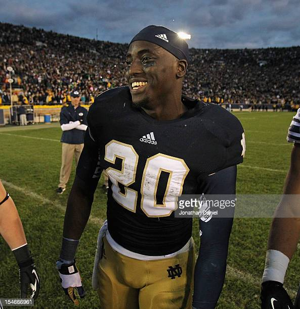 Cierre Wood of the Notre Dame Fighting Irish smiles after a win over the BYU Cougars at Notre Dame Stadium on October 20 2012 in South Bend Indiana...