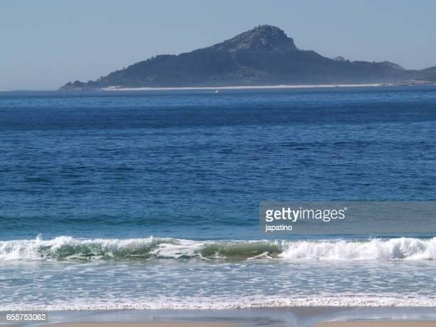cies islands in the ria de vigo - atlantic islands stock photos and pictures