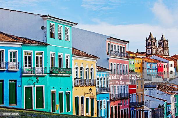 Ciew of painted buildings  ,Salvador Bahia,Brazil