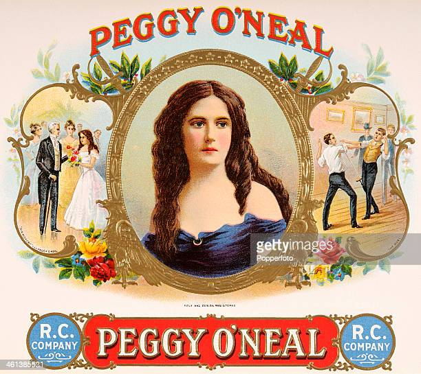A cigar box label featuring Peggy O'Neal the wife of the Secretary of War under American president Andrew Jackson and two scenes from her tumultuous...