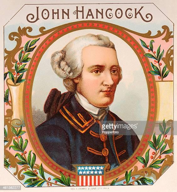 A cigar box label featuring the American patriot John Hancock circa 1870