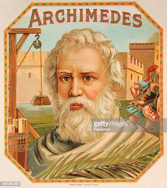 A cigar box label featuring the ancient Greek scientist Archimedes of Syracuse circa 1870