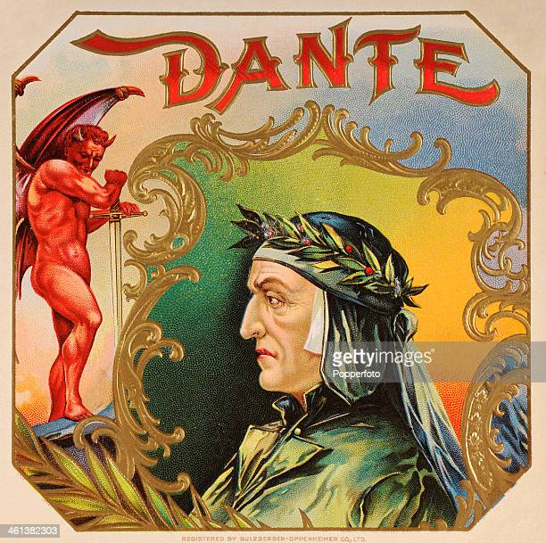 A cigar box label featuring the Italian poet Dante Alighieri circa 1870