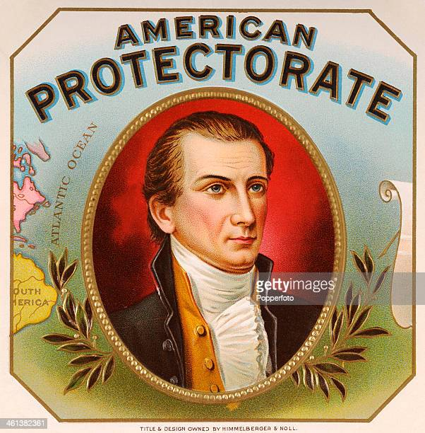 A cigar box label for American Protectorate cigars featuring American president James Monroe proponent of the Monroe Doctrine circa 1870