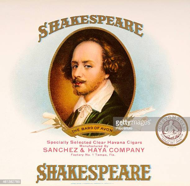 A cigar box label for Shakespeare cigars featuring a portrait of William Shakespeare the Bard of Avon circa 1870