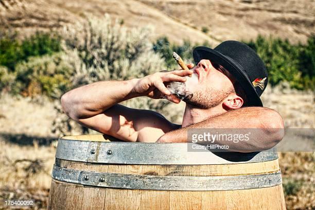 Cigar Smoking Barrel Bather