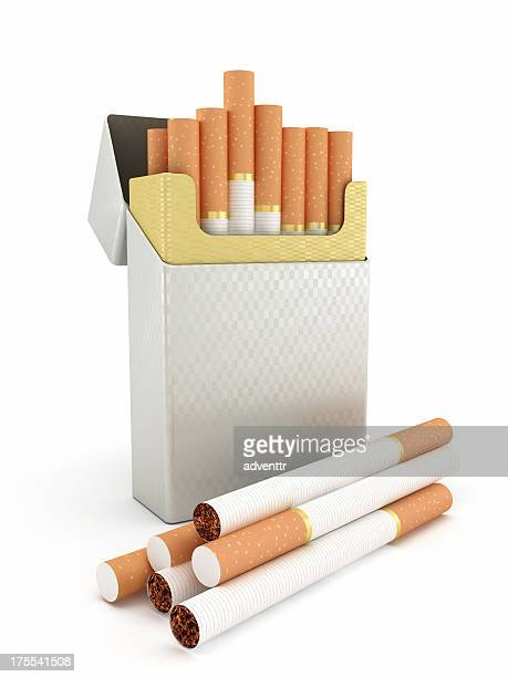 cigarette box and cigarettes - cigarette stock pictures, royalty-free photos & images