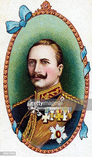 Cigarette card European Royalty The German Emperor William II the 3rd German Emperor and King of Prussia born January 27th 1859 He married in 1881 to...
