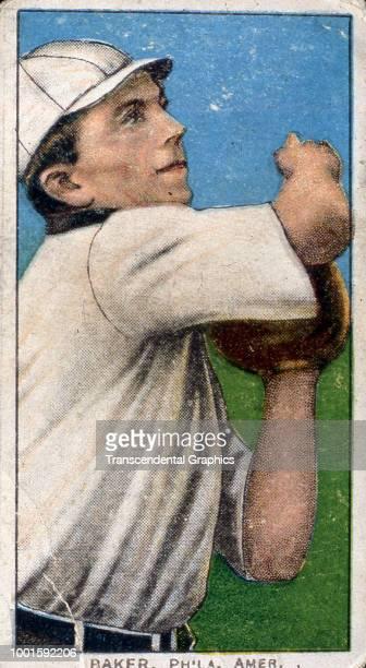 Cigarette card features American baseball player Frank 'Home Run' Baker of the Philadelphia Athletics New York New York 1910