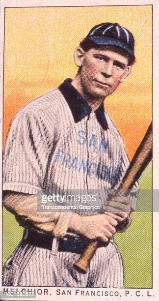 Cigarette card features American baseball player Henry Melchoir of the San Francisco Seals Los Angeles California 1911