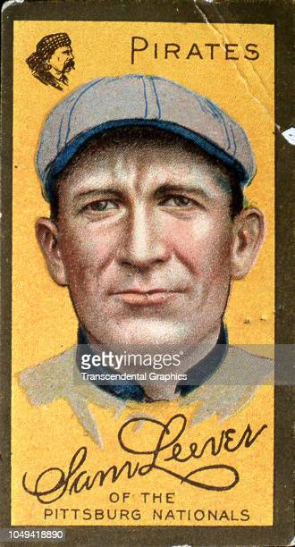Cigarette card features American baseball player Sam Leever of the Pittsburgh Pirates New York New York 1911