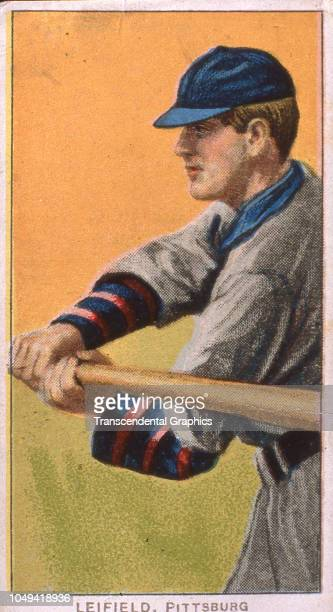 Cigarette card of features American baseball pitcher Lefty Leifield of the Chicago Cubs New York New York 1910