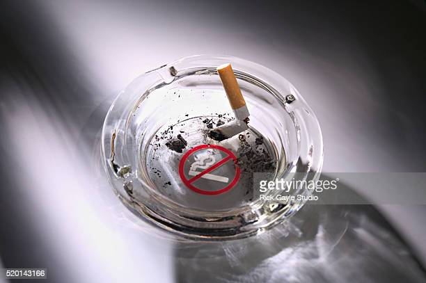 Cigarette in Ashtray with No Smoking Sign