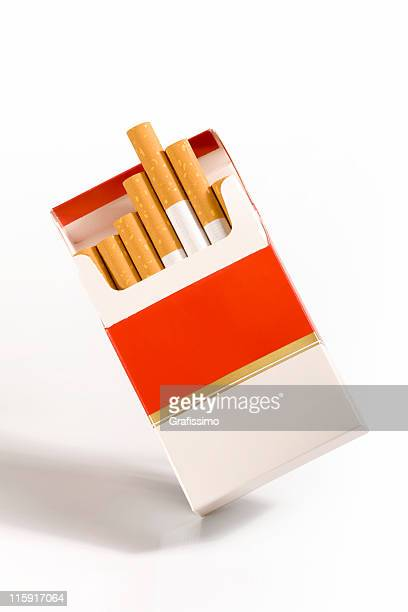 cigarette packet on white - cigarette pack stock pictures, royalty-free photos & images