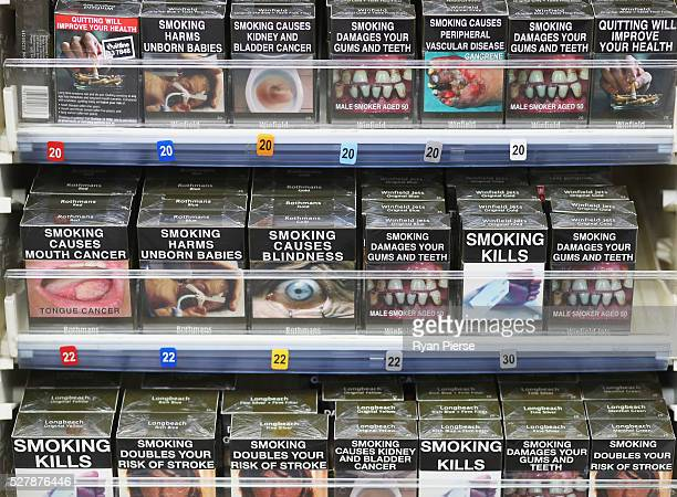 Cigarettes are seen on the shelf on May 04 2016 in Sydney New South WalesThe Australian Government yesterday announced in their budget four annual...