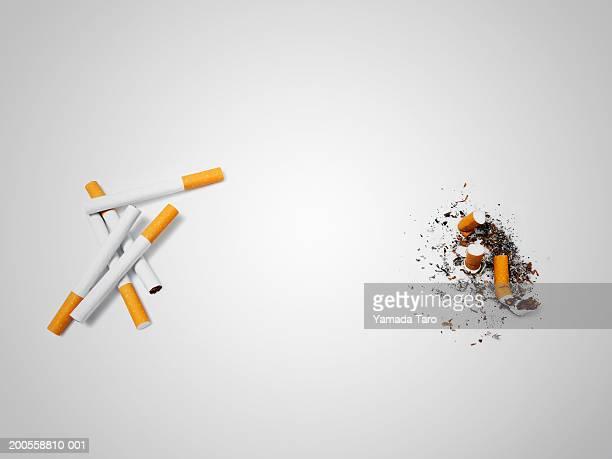 cigarettes, elevated view - 灰 ストックフォトと画像