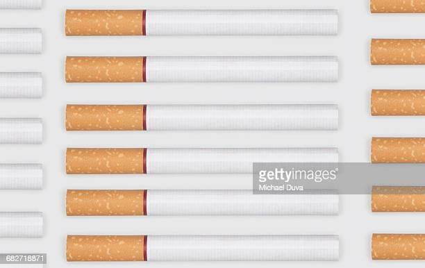 cigarettes in a pattern on white background - cigarette stock pictures, royalty-free photos & images