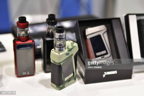 Cigarettes on display at the Vape Jam UK 4 at ExCel on April 6 2018 in London England Vape Jam UK the premier Electronic Cigarette and ELiquid trade...
