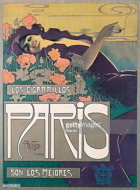 'Cigarrillos Paris son los Mejores' poster by Aleardo Villa color lithograph 50x 37 in private collection
