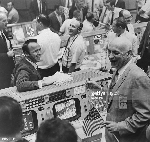 Cigars and US flags dot the Mission Control Center in Houston Texas May 26th after successful completion of the Apollo 10 Moon mission Among the...