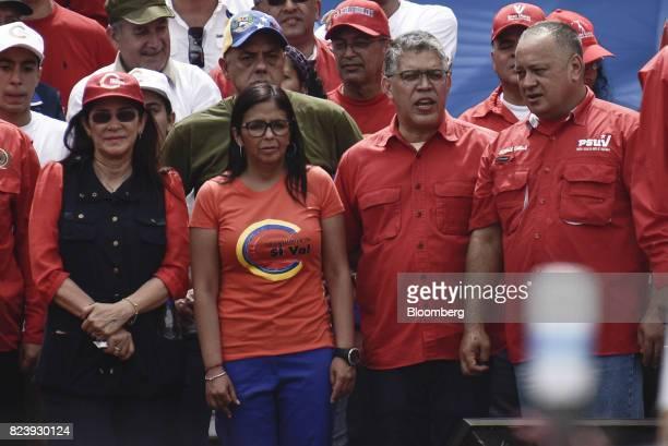 Cilia Flores First Lady of Venezuela from left Delcy Rodriguez Venezuela's former foreign minister Elias JoseJaua head of Venezuela's Presidential...
