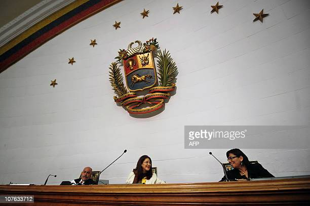 Cilia Flores Venezuela's National Assembly President greets deputies from the ruling party on December 16 2010 in Caracas during the discussion of...