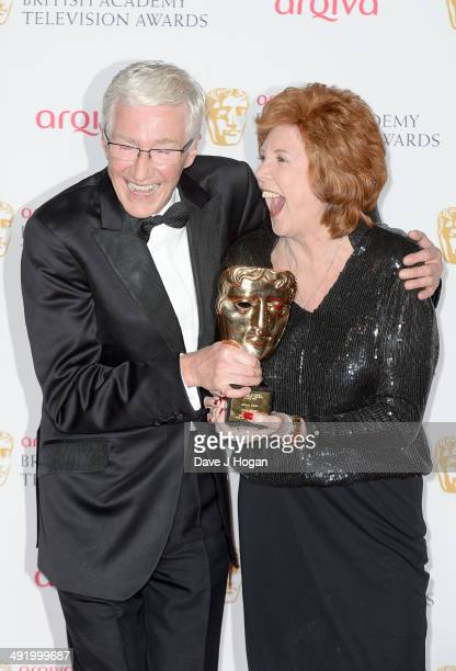 Cilla Black accepts the Bafta Special Award for her service to entertainment with Paul O'Grady at the Arqiva British Academy Television Awards at...