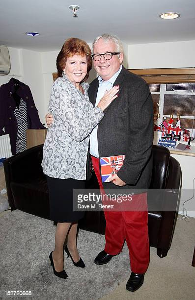 Cilla Black and Christopher Biggins pose backstage during the interval of the press night performance of 'Let It Be' at The Prince Of Wales Theatre...