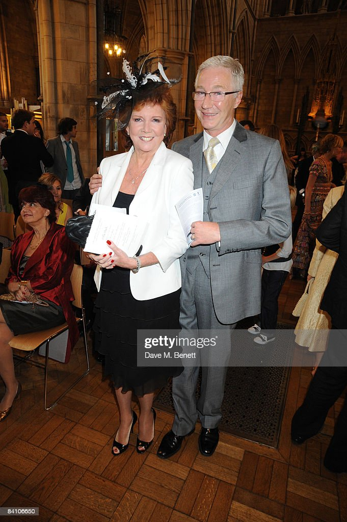 Cilla Black and Paul O'Grady attend the wedding of Leah Wood and Jack MacDonald at Southwark Cathedral on June 21, 2008 in London, England.