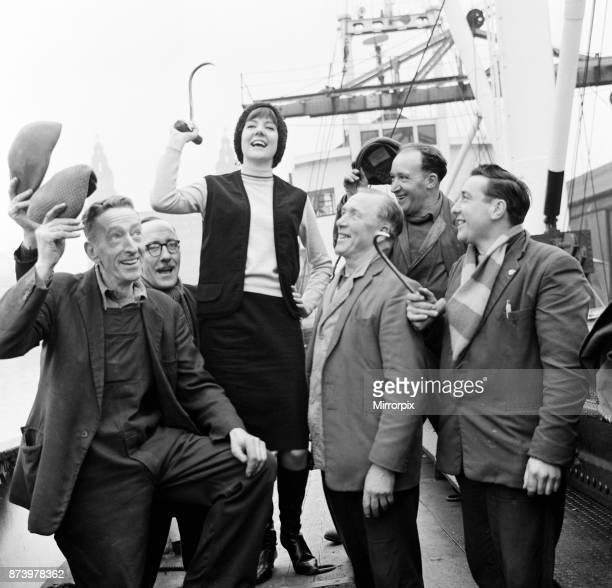 Cilla Black on a boat in Liverpool 19th February 1964