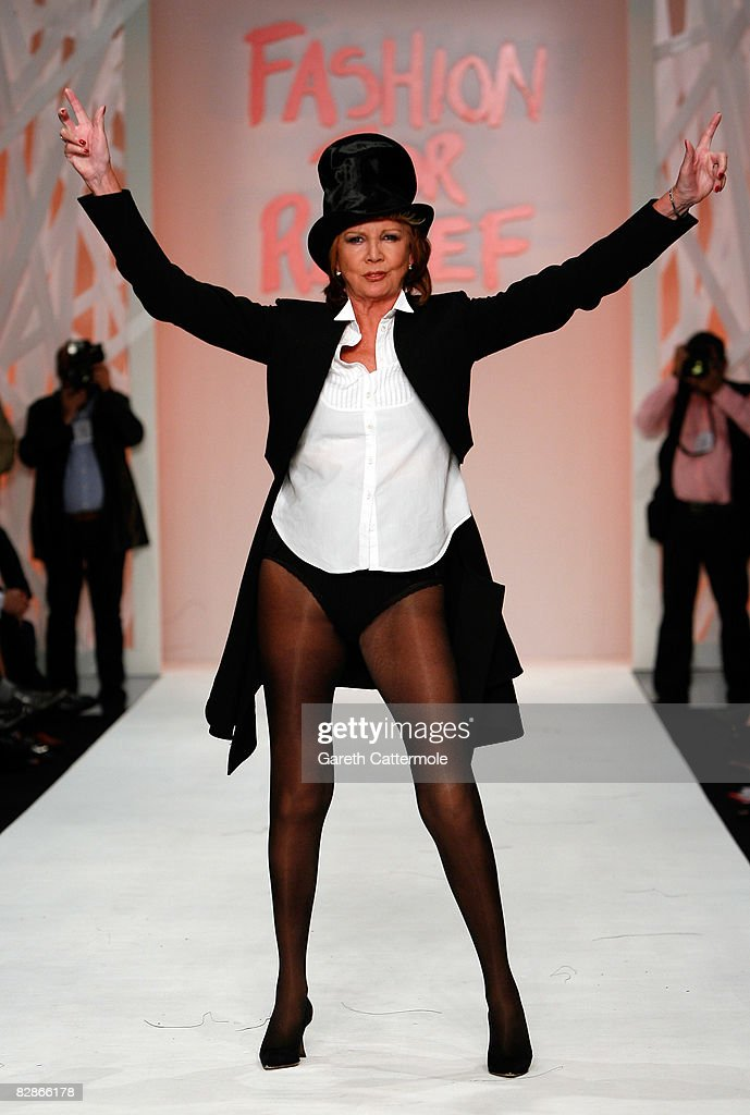 Cilla Black walks the runway during the Fashion For Relief show during London Fashion Week Spring/Summer 2009 on September 17, 2008 in London, England. Fashion For Relief is a charity fashion show and auction organised by model Naomi Campbell.
